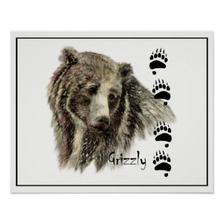 Watercolor Grizzly Bear Animal Nature Art Poster