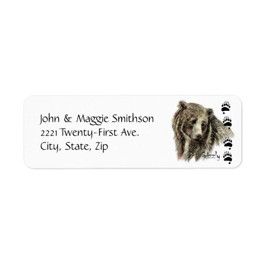 Watercolor Grizzly Bear Wildlife Nature Art Return Address Label