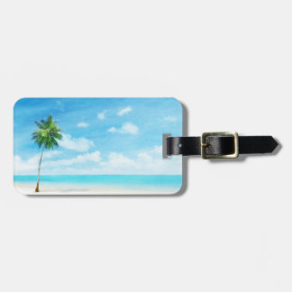 Watercolor grunge image of beach luggage tag