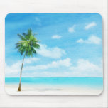 Watercolor grunge image of beach mouse pad