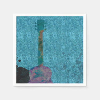 Watercolor Guitar Blue Musical Birthday Party Disposable Serviette