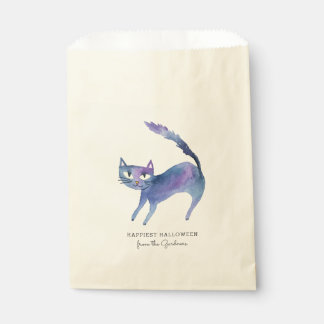 Watercolor Halloween Cat Favour Bag