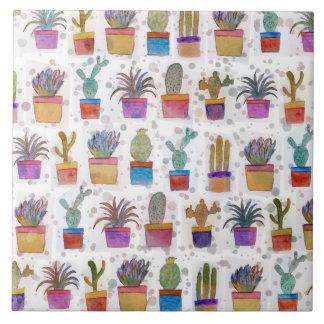 Watercolor hand paint cactus pattern ceramic tile