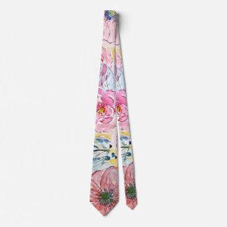 Watercolor hand paint floral design tie