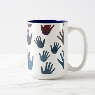 Watercolor Hands Two-Tone Mug