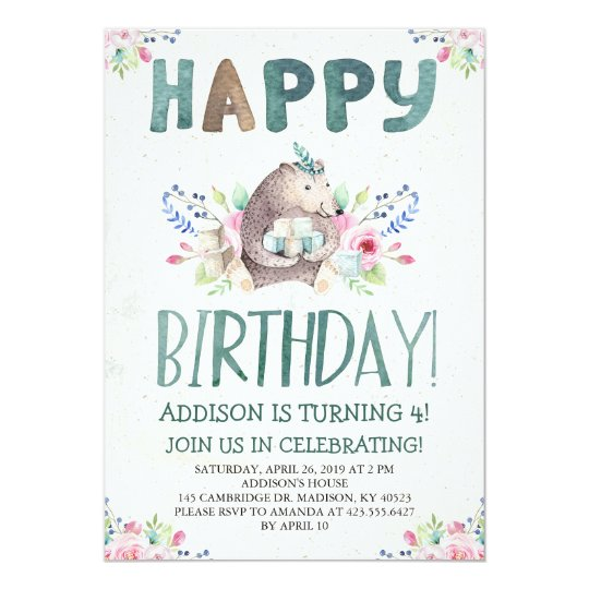 Watercolor Happy Birthday Bear Card