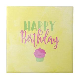 Watercolor Happy Birthday Cupcake Small Square Tile
