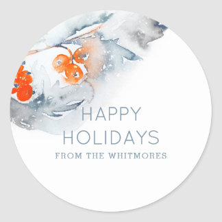 Watercolor Happy Holidays Classic Round Sticker