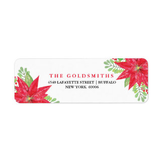 Watercolor Happy Holidays Floral Personalized Return Address Label
