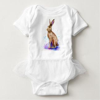Watercolor hare portrait baby bodysuit