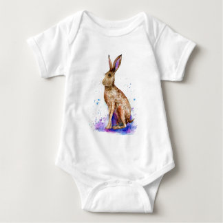 Watercolor hare portrait baby bodysuit