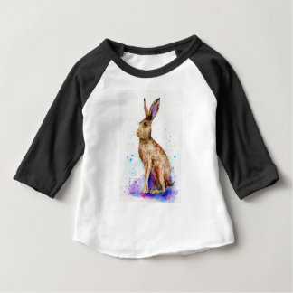 Watercolor hare portrait baby T-Shirt