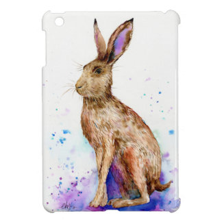 Watercolor hare portrait iPad mini cover