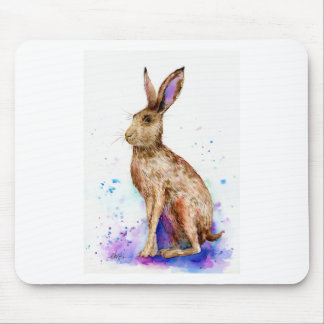 Watercolor hare portrait mouse pad