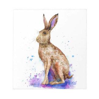 Watercolor hare portrait notepad