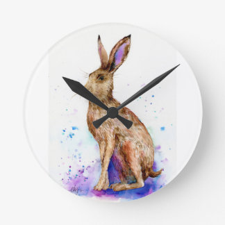 Watercolor hare portrait round clock