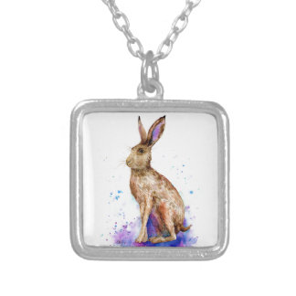 Watercolor hare portrait silver plated necklace