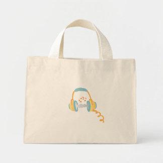 watercolor headphone. mini tote bag