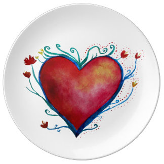 Watercolor heart  Decorative Porcelain Plate
