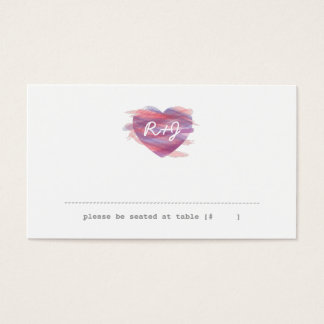 Watercolor Heart Escort Card - Pink
