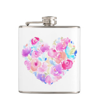 Watercolor Heart. Flower Heart Flasks
