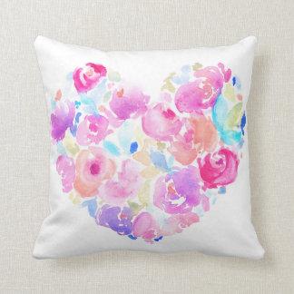 Watercolor Heart. Flower Heart Throw Pillow