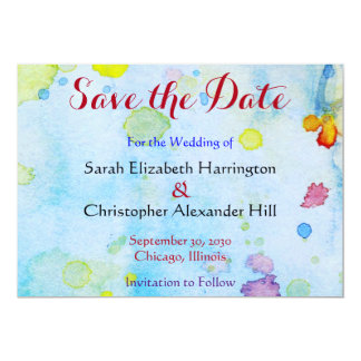 Watercolor Heart Save the Date Wedding 13 Cm X 18 Cm Invitation Card