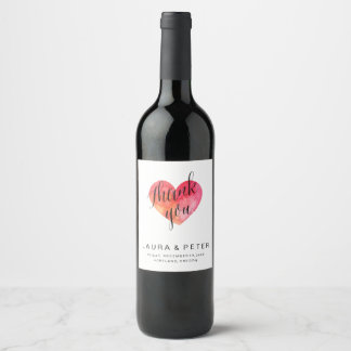 Watercolor heart Thank you | wedding favor Wine Label