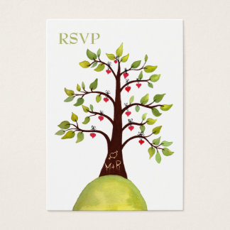 Watercolor Heart Tree Carving Wedding RSVP Cards