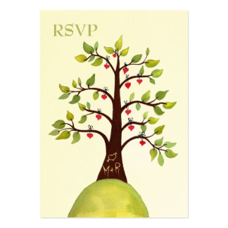 Watercolor Heart Tree Carving Wedding RSVP Cards Business Card