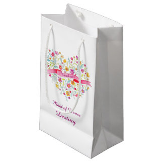 Watercolor heart wedding bridesmaid gift favor bag