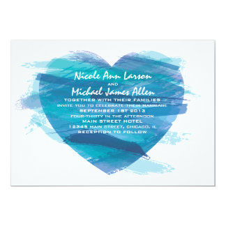 Watercolor Heart Wedding Invitation in blue