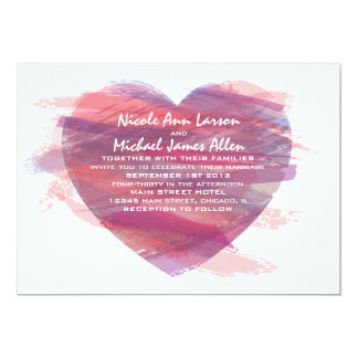 Watercolor Heart Wedding Invitation in Pink