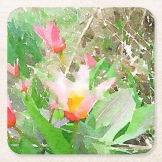 Watercolor Hearts Delight Tulip Square Paper Coaster