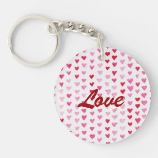 Watercolor Hearts Double-Sided Round Acrylic Key Ring