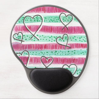 Watercolor hearts gel mouse pad
