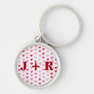 Watercolor Hearts Silver-Colored Round Key Ring