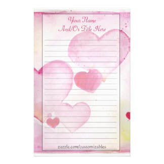 Watercolor Hearts Stationery