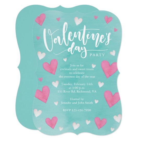 Watercolor Hearts Valentines Day Party Card