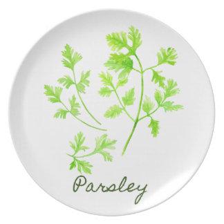 Watercolor Herb Parsley Illustration Dinner Plate