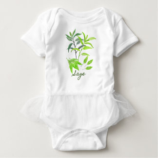 Watercolor herb sage illustration baby bodysuit