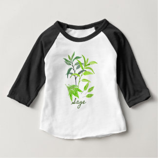 Watercolor herb sage illustration baby T-Shirt
