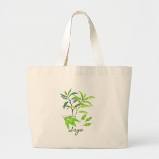 Watercolor herb sage illustration large tote bag