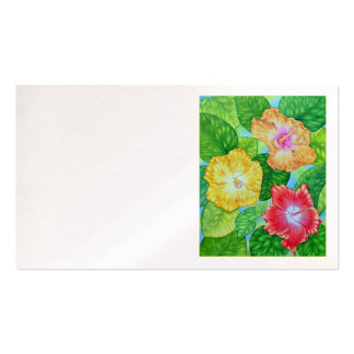 Watercolor Hibiscus Business Card Template