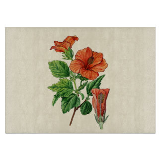 Watercolor Hibiscus Cutting Board