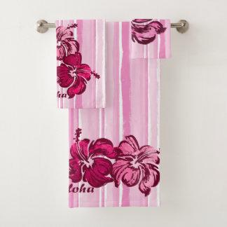 Watercolor Hibiscus Hawaiian Stripe - Pink Bath Towel Set