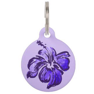 Watercolor Hibiscus Hawaiian Tropical Pet ID Tag