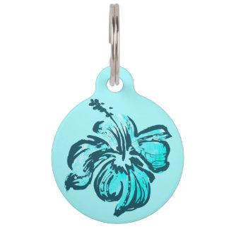 Watercolor Hibiscus Hawaiian Tropical Pet ID Tags