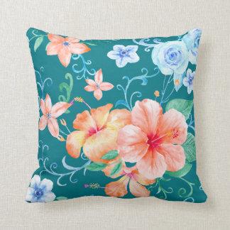 Watercolor Hibiscus & Rose Pattern Cushion