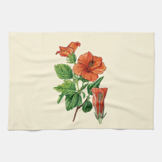 Watercolor Hibiscus Tea Towel